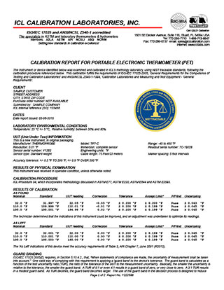 Sample ThermoProbe Calibration Report