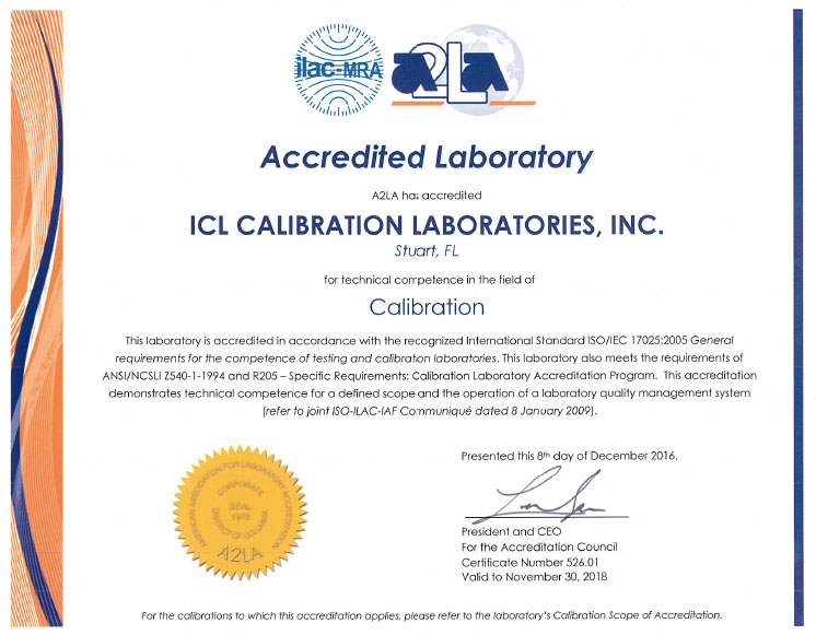 A2LA Scope and Certification Certificate